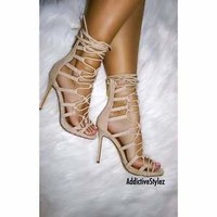 Nude Women Liliana Asuka-25 Peep Toe Stiletto Lace Up Gladiator Heel