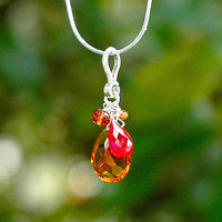 NEW Tangerine Quartz Teardrop Necklace / Sterling Silver / Wire Wrapped / Orange / Red / Citrine / Pendant / Mothers Day Gift / OOAK