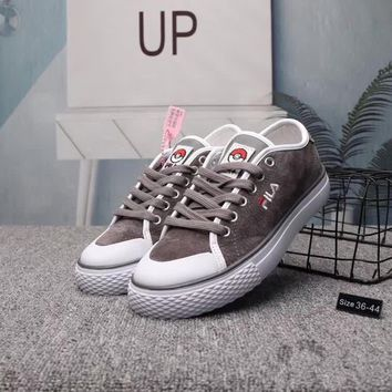 fila unisex casual retro pig leather plate shoes couple sneakers