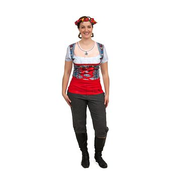 Realistic Costume Dirndl Faux Red Shirt