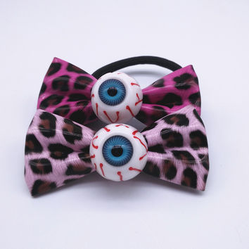 Creepy Blue Eyeball Leopard Hair Bow Japanese Harajuku Hair Accessories