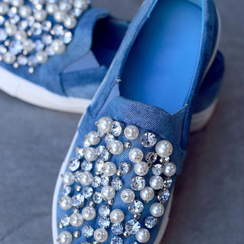 Faux Jewels And Pearls Slip-On Sneaker | UrbanOG