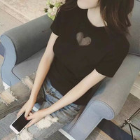 Heart Mesh Patchwork Short Sleeve T-Shirt