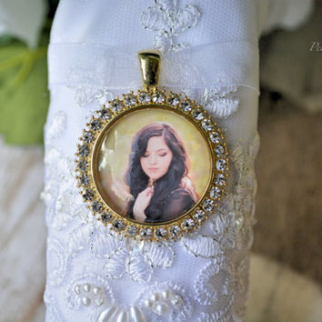 Rhinestone Bridal Bouquet Pendant - Custom Bridal Gift - Bridal Accessories - Bouquet Photo Charm - Bouquet Picture Charm