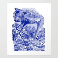 Vintage Whooping Crane Illustration in Blue Art Print by Oona Lee Vintage