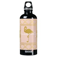 Flamingo Pink and Faux Gold Retro Pattern Modern Aluminum Water Bottle