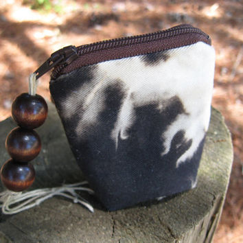Zip pouch key ring Black & White - small - organic  - wood beads - OOAK