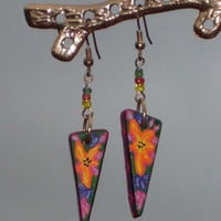 Colorful Painted Wood Dangle Earrings, Stunning Hand Made for women and girls of all ages