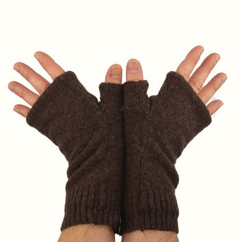 Men's Fingerless Mitts in Chocolate Brown - Recycled Wool - Fleece Lined