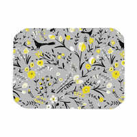 "Laura Nicholson ""Blackbirds On Gray"" Gray Yellow Place Mat"