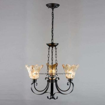 Vintage Retro 3 Arm Black Metal Chandelier Light Lamp Brown Glass Shade Ceiling Fixture Lighting