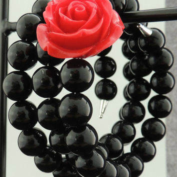 Black Beaded Cuff Bracelet with Red Rose