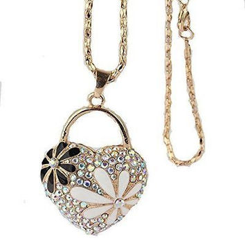 Gold Tone Heart With Crystal,Daisy Necklace (Plain Gold Filigree Daisy On Back)