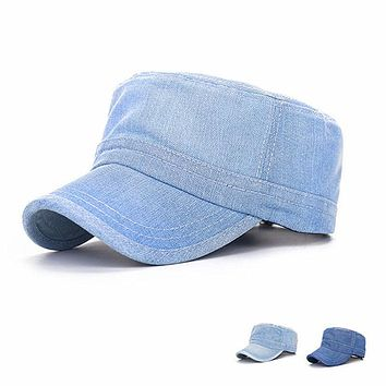New Fashion Flat Cap For Women Solid Baseball Cap Women Snapback Summer Hats For Women Adjustable Size 55-60cm Denim Material