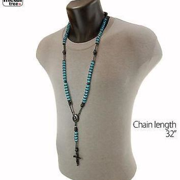 Jewelry Kay style Men's 8mm Aqua Blue Bead Bk Plated Rosary Pray Hand & Jesus Cross Necklace BKAQ