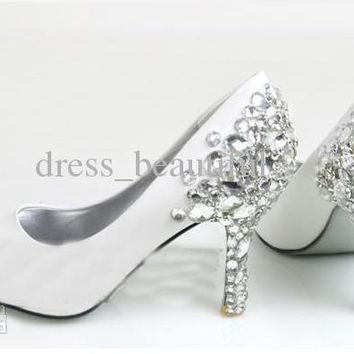 Fashion White Diamond Wedding Shoes Bridal Shoes Bridesmaid Party Shoes Prom Sho