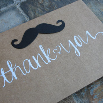 A set of 20 Mustache Thank you cards ~ BLANK