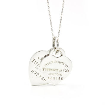 "Tiffany & Co. Return to Tiffany Medium and Large Heart Tags on 18"" Fine Tiffany Chain in 925 Sterling Silver"
