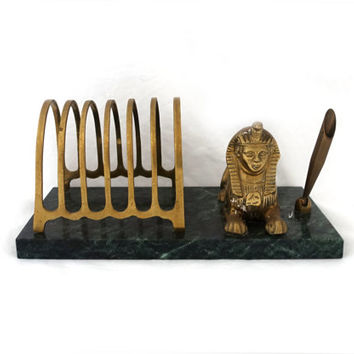 Vintage ancient Egypt souvenir sphinx brass and green marble desk set, letter holder