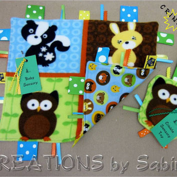 Baby Gift Set - Ribbon Sensory Blanket & Crinkle Tag Toy, Owl Woodland Animals Bunny Rabbit Skunk, Blue Green READY TO SHIP 158