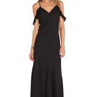 Black Spaghetti Straps Off-Shoulders Maxi Dress