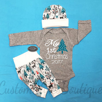 Baby Boys 1st Christmas Outfit, My First Christmas, Snowy Winter Leggings & Hat, Baby Boy Coming Home, Hospital Outfit, Grey Bodysuit