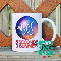 5 Seconds of Summer Logo on Galaxy Coffee Mug, Ceramic Mug, Unique Coffee Mug Gift Coffee