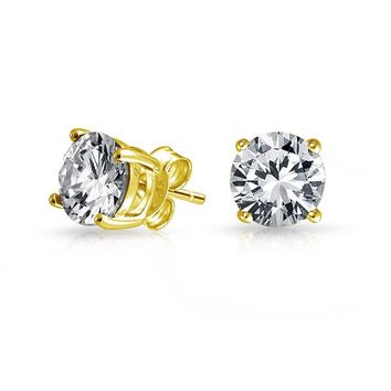 Cubic Zirconia Brilliant Cut Solitaire AAA CZ Stud Earrings Gold Plate
