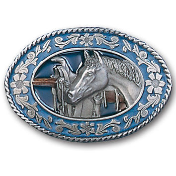 Horse head and Saddle Enameled Belt Buckle