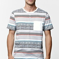 On The Byas Shook Ethnic Jacquard Henley T-Shirt - Mens Tee - White