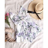 ruffled floral chiffon romper in white multi