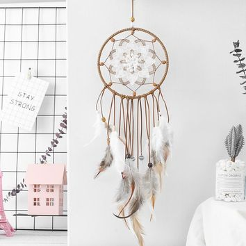 Hot Newest Dreamcatcher Wind Chimes Indian Style Feather Pendant Dream Catcher Creative Car Hanging Decoration