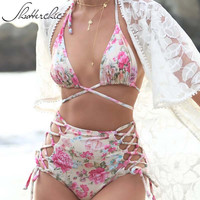 Shutterchic String Bikini Set Sexy Floral High Waist Swimsuit Wrap Around Swimwear 2017 Swim Bathing Suit Lacing Biquini Beach