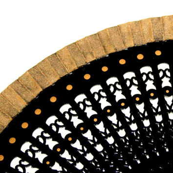Spanish hand painted fan. Carved fan. Black and Gold.