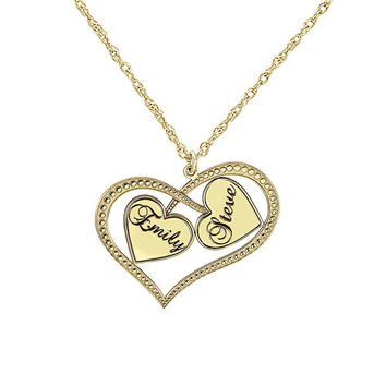 Interlocking Hearts Couples Necklace