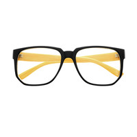 Nerdy Geek Wood Clear Lens Square Glasses Frames T25