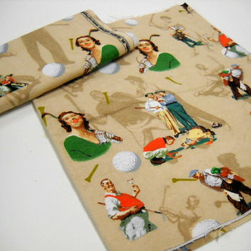 Golfing Print Fabric, Vintage Golf designs, Fabric Remnant, Crafts, Sewing Notions