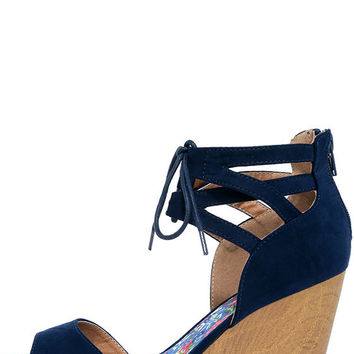 Fun-Seeker Navy Blue Suede Platform Wedges