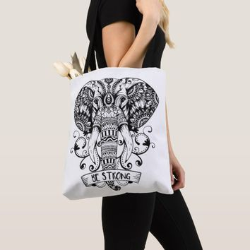 Elegant Jungle Animal Elephant head Sketch Tote Bag