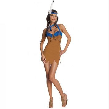Halloween Costume Amorous Indian Women Dress Free Size Brown and Blure Color Costume Traditionnel Cloth