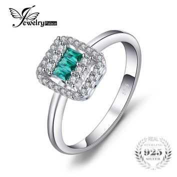 JewelryPalace Vintage 0.22 ct Square Created Emerald & CZ Ring 925 Sterling Silver Charms Women Wedding Rings Brand Fine Jewelry
