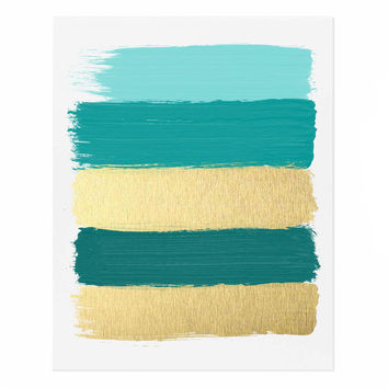 Turquoise and Gold Paint Strokes Abstract