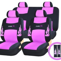 13pc Flames HOT Pink and Black Type R Racing Low Back Seat Covers with Head Rest Covers, Bench Cover with Head Rest Covers and Steering Wheel Cover with Shoulder Pads