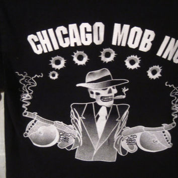 Chicago Mob Inc. Long Sleeve T-Shirt with Skulls, Size Small. VERY COOL!