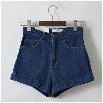 Women New Arrival Denim Shorts Vintage High Waist Cuff Brand Jeans Shorts Girls'Sweet Wear Sexy Plus Size XXL Shorts