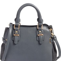 Sole Society Nemali Faux Leather & Flannel Satchel | Nordstrom