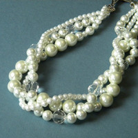 Pearl Necklace, Multi Strand Pearls, Pearl Jewelry, Chunky Pearl Necklace, Wedding Pearl Necklace, Pearls, Bridal Pearl Necklace