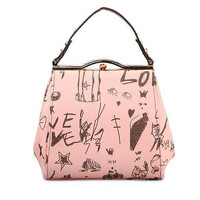 Pink print handbag with Brass Accents / Women's handbag /  Top handle bags / Everyday bags / Shoulder bags-2 Printed sides