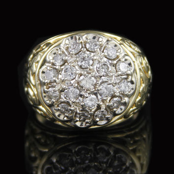 Gents 2cttw Kentucky Cluster Ring in 14K Yellow Gold