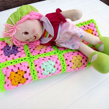 Hand crochet girl's baby blanket granny square - Sun yellow  pink lilac and apple green stripes